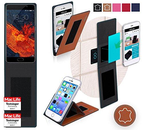 Hülle für Meizu Pro 6 Plus Tasche Cover Hülle Bumper   Braun Leder   Testsieger