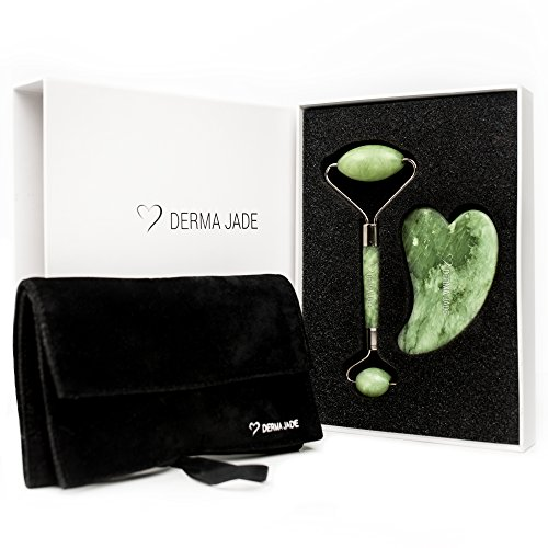 Luxury Jade Roller for Face and Gua Sha Facial Scraping Tool + Travel Pouch - Best Facial Massage Set - Instant Radiant Skin - Fantastic Tips Ebook Included - Real Jade 100% Jade by Derma Jade