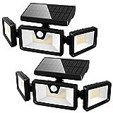 SEFON Solarlampen für Außen, 188 LED Solar Bewegungsmelder Aussen, IP65 Wasserdichte Solar Gartenleuchten, 3 Modi Solar Strahler Aussenleuchten für Garten 2 Stk