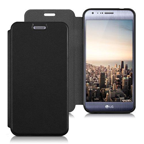 kwmobile Hülle kompatibel mit LG X Cam - Kunstleder Handy Schutzhülle - Flip Cover Hülle Schwarz