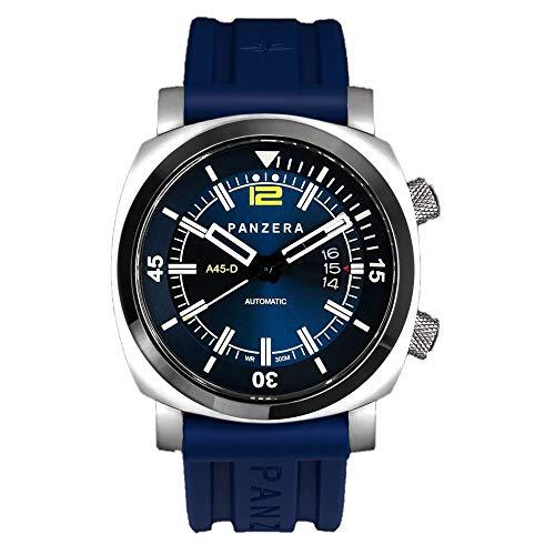 Panzera Aquamarine Pro Diver Infinity Blue Pioneer Automático Diver Acero Silicona Fecha Reloj Hombre