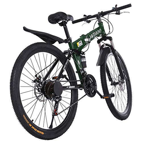 26 inch Full Suspension Mountain Bike 21 Speed Folding Adult Bikes high Carbon Steel Frame Non-Slip Dual Disc Mountain Bicycle (Green)
