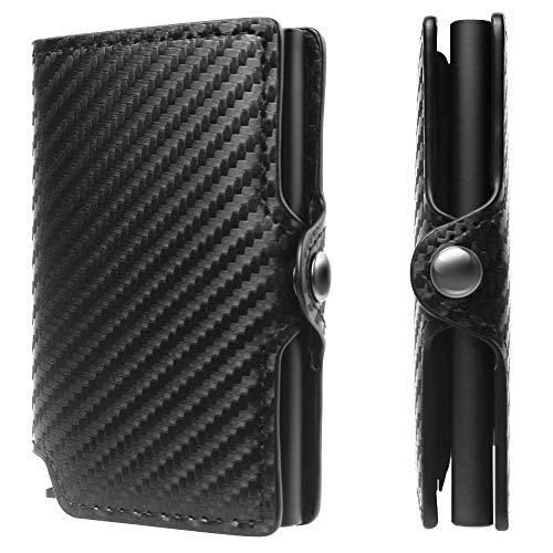 Porta Carte Di Credito Portafoglio RFID Fibra di carbonio Blocco Anticlonazione Minimalista Portafoglio da uomo slim Regali Per Uomo (Nero-2)