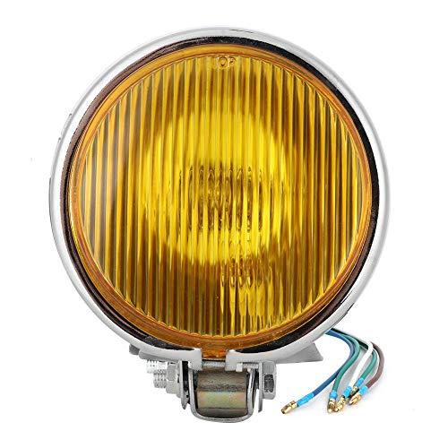 Motorfiets koplamp, universele koplamp Vintage retro stijl koplamp Universele motorfiets koplamp Motor modificatie accessoire(Zilver schelp geel glas)