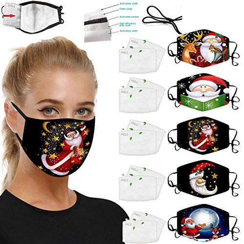5 Pack New Year Face_Mask with 10 Filters, 2021 Happy New Year Facemasks with Adjustable Ears, Reusable Washable Breathable Cotton Facemasks for Christmas New Years Eve Party Gift