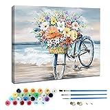 Pintura por números para niños y Adultos Kits de Regalo de Pintura al óleo de Bricolaje con Marco de Madera Impreso Lienzo Arte Decoración del hogar - Bicicleta 30 × 40 cm