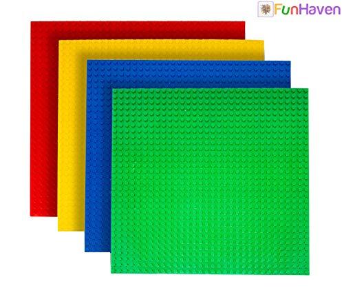 FunHaven Pack 4 Arco !RIS Grande Base Platos Ladrillo Construcción Placas Base Cabezal para Las Niñas Niños 32 X 32 Pendientes o 10x 10 Pulgadas Accesorios Plato Bases Compatible con Major Marcas