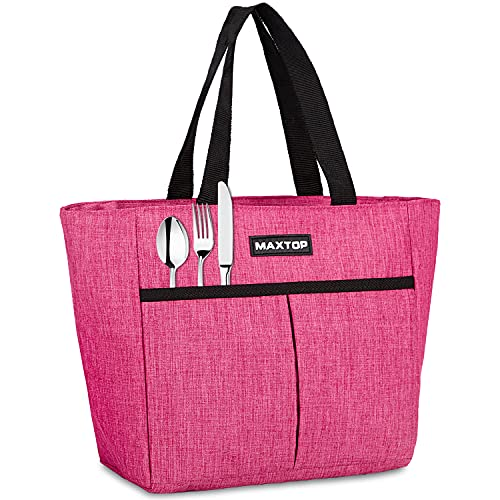 MAXTOP Lunch Bags for Women,Insulated Thermal Lunch Tote Bag,Lunch Box with Front Pocket for Office Work Picnic Shopping (New Pink (Additional Zipper Pocket), Small)