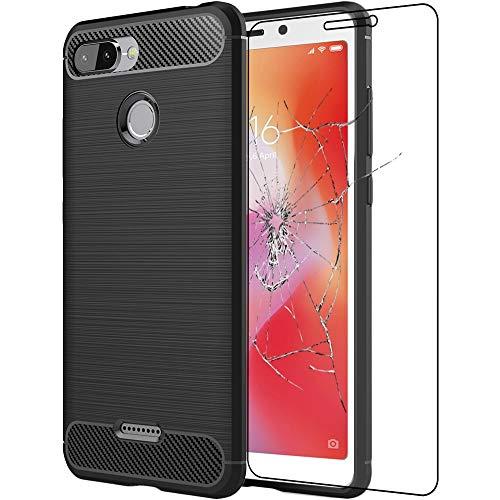 ebestStar - Cover Compatibile con Xiaomi Redmi 6 6A Custodia Protezione Silicone Gel Fibra di Carbonio Anti Scivolo, Nero +Pellicola Vetro Temperato [Apparecchio: 147.5 x 71.5 x 8.3mm, 5.45'']
