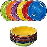 astor24 Premium 6er Set Hochwertige Keramik Suppenteller Schale Geschirr Hohe Qualität in tollen Farben für Ihre liebsten Speisen (Suppenteller Bunt)