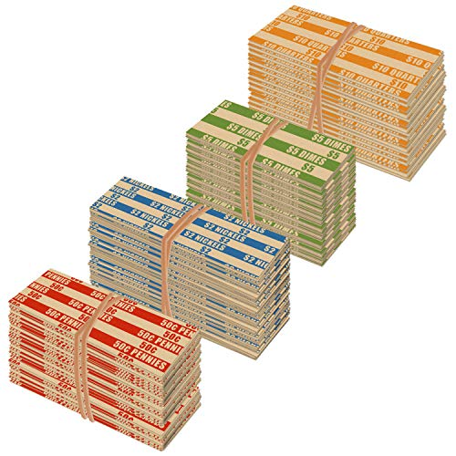 500 Flat Standard Striped Coin Roll Wrappers for U.S. Coins - 125 Each of Penny, Nickel, Dime and Quarter Wrappers Separated and Color Coded to ABA Standards