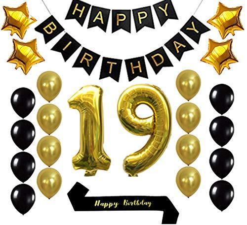 Gold 19th Birthday Decorations Balloon Banner - Happy Birthday Banner, 19 Gold Number Balloons, Gold and Black Balloons, Happy Birthday sash, Birthday Decoration Supplies Fancy