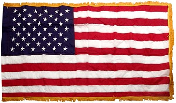 American 3ft X 5ft Nylon Flag With Indoor Pole Hem And Fringe Made By Valley Forge