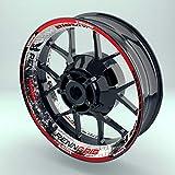 OneWhell Felgenaufkleber Renngrib für Motorrad | 17 Zoll | Komplett Set für Vorder- und Hinterreifen | Rim Sticker (Design 2)