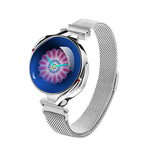 Smart Horloge voor Vrouwen, Bluetooth Fitness Tracker met Hartslagmonitor, IP67 Waterdichte Slaapmonitor Stappenteller SMS WhatsApp Call Notification SmartWatch voor IOS & Android, ZILVER