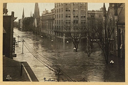 Historic Photos 1913 Photo Ludlow St. looking north flood waters on Ludlow Street in downtown Dayton, Ohio, during the great flood of 1913. Location: Dayton, Ohio