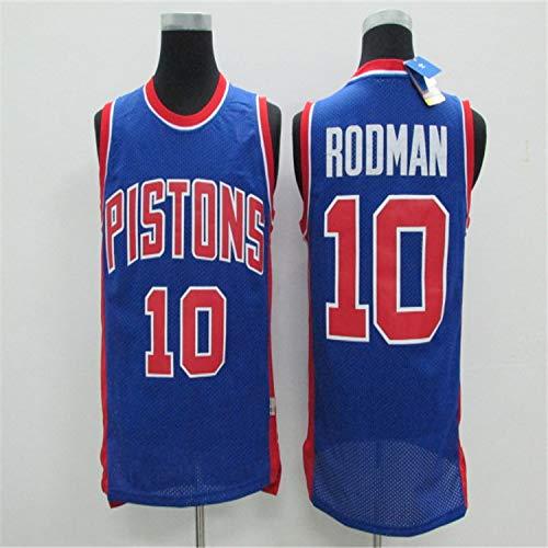 Haoshangzh55 Camisetas De Baloncesto para Hombre, Detroit Pistons # 10 Dennis Keith Rodman, Camiseta De Baloncesto Retro con Chaleco Deportivo, Camiseta Sin Mangas,XL(180~185CM)