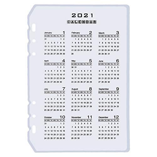 Dailing 2021 - Divisor de calendario A5 A6, hojas sueltas, planificador de hojas planificador de hojas planificador de hojas interiores con clip para agenda de diario y cuadernos