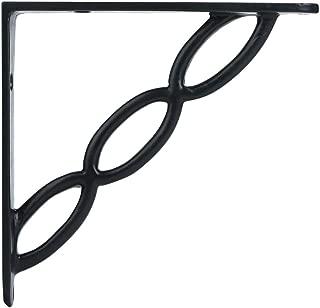 A29 Set of 2 Iron Shelf Brackets with Black Powder Coat Finish, 6 x 6 Inch, Heavy Duty Adjustable Support Brackets Easy Installation Hardware