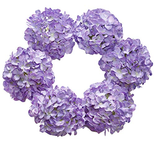 DuHouse Silk Hydrangea Artificial Flowers Heads with Stems for Wedding Home Decor Pack of 6 (Purple)