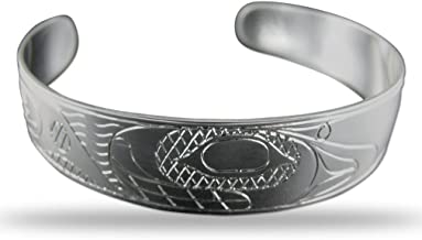 Sterling Silver Orca Pacific Northwest Coast Native 1/2 Inch Wide Bracelet