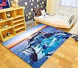 Alfombra Salon Delfín Animal Azul Alfombras de Habitacion Vinilica Salón Moderno de Pelo CortoTamaño Rectangular Suave al Tacto para Dormitorio Habitacion 80×150cm