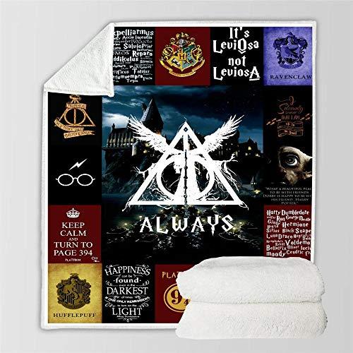 JRDDX Harry Potter Überwurf-Decken für Erwachsene & Kinder, Fleece-Decke, super weiche Tagesdecke Sherpa-Decke für Bett & Sofa, 3D-Digitaldruck, Decken, Foto, Farbe, 150 x 200 cm