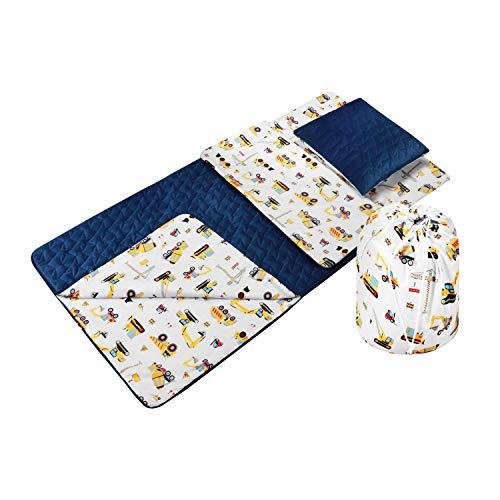Babyboom Schlafsack für Kinder, Krippe, Kindergarten, Zuhause, Reisen/ 100% Baumwolle & VELVET/Gr. 60x120cm + Kissen inkl. Tasche/Made in EU (Bagger - marineblau)