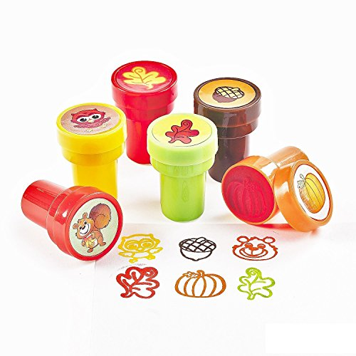 Fun Express Fall Ink Stampers | 2-Pack (48 Count) | Great for Harvest, Thanksgiving, and Autumn-Themed Party Favors | Children Age 3+