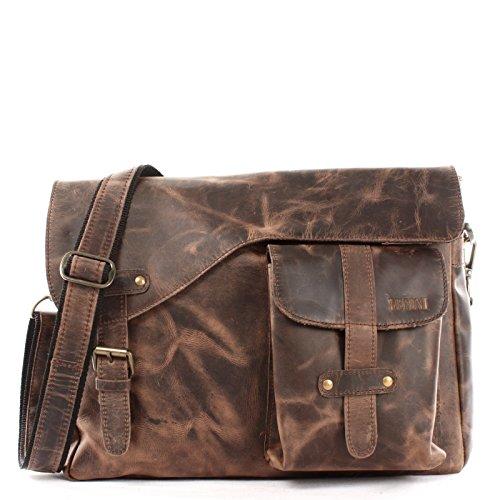LECONI Messenger Bag DIN A4 Leder Damen Herren Ledertasche Schultasche Retro look Collegetasche natur 38x28x12cm natur schlamm LE3032-wax