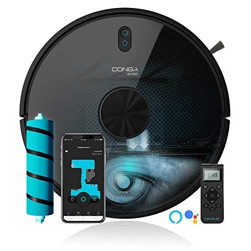 Cecotec Robot aspirateur Conga 6090 Ultra. Laser, Puissance d'aspiration 10000 Pa, App, Capteur Optique, Virtual Voice, 10 Modes de Nettoyage
