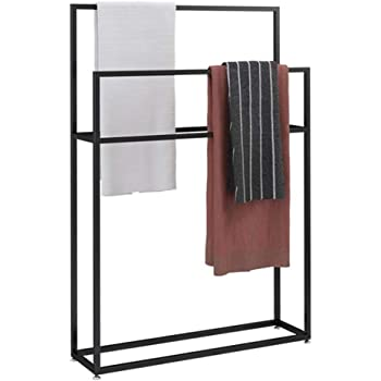 Kitchen Bathroom Organizer Holder Outdoor Pool Towel Rack Freestanding Towel Rail Rack Standing Towel Rack Black85x20x100cm Metal Towel Bar Stand