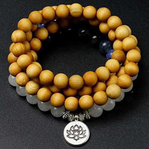 Armband Naturholz Thuja Mit Blauen Stein Perlen Armband Weiß Chalcedon Lotus Flügel Charme Armreif Frauen Männer Meditation Schmuck