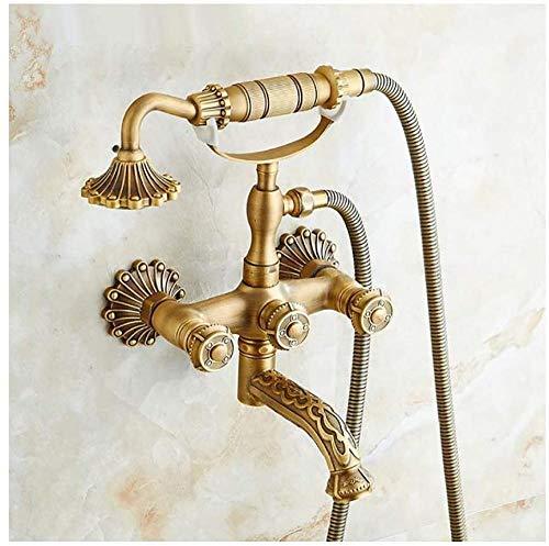 MLFPDXC-Grifo de bañera Retro Latón grabado Baño Grifo de bañera Doble manija Estilo teléfono Juego de ducha Grifo de bañera montado en la pared con ducha de mano en forma de flor Agua fría y caliente