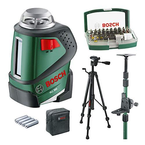 Bosch Linienlaser PLL 360 Set mit Stativ (Arbeitsbereich: 20 m, Genauigkeit: ± 0,4 mm/m, in Schutztasche) + Teleskopstange TP320 (im Karton)