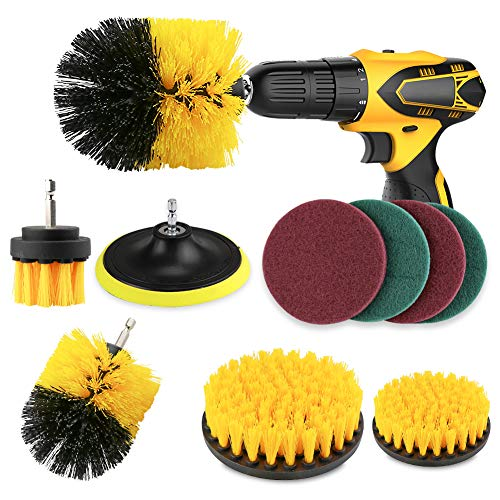FHzytg 10 Stück Polieraufsatz Akkuschrauber Rundbürste Bohrmaschine, Buersten Bohrmaschine Electric Cleaning Brush Set Bohrmaschine Buerstenaufsatz Reiniger Fliesen Drill Brush für Badwanne