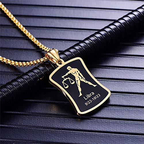 DDDDMMMY Collar,Colgante De Oro De Libra,12 Constelaciones Necklace