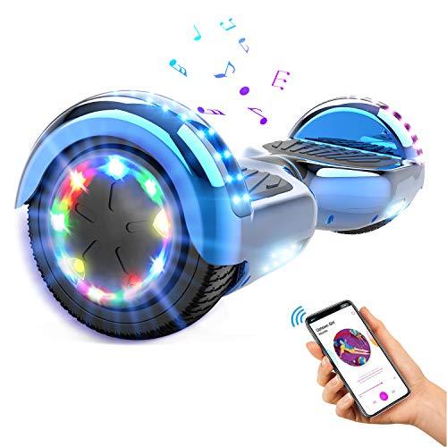 GEARSTONE Hoverboard monopatín con Bluetooth e iluminación LED 6,5 Pulgadas Scooter eléctrico Self Balance Scooter E Overboard para niños y Adolescentes