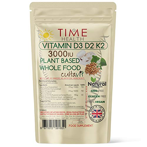 Vitamin D3, D2, K2, Natural Wholefood Plant Based 3000IU - Zero Additives - Pullulan (60 Capsule Pouch)