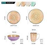 Vancasso Tafelservice Porzellan, Tulip Elegantes Geschirrset, 48 teilig Kombiservice Serie Mandala, mit Speiseteller, Dessertteller, Müslischalen und Kaffeebecher für 12 Personen - 3