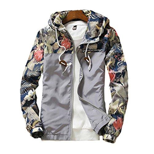 Herren Blumen Druck Bomberjacke Slim Fit Sport Jacke Outwear Stehkragen mit Kapuze Freizeitkleidung Übergangsjacke Winterjacke