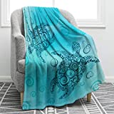 Jekeno Sea Turtle Blanket Comfort Warmth Abstract Tortoise Blue Blanket for Couch Bed Chair Office Sofa 50'x60'