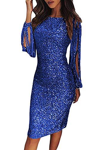 kenoce Partykleid Damen Sexy Abendkleider Elegante Festliches Kleid Fransen Langarm V-Ausschnitt Cocktailkleid für Hochzeit Minikleid Blue XXL