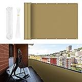 Vivibel Proteccion Balcon, Pantalla de Privacidad 0,9 x 6 m con Protección contra El Viento Opaco y Protección UV, con Ojales, Bridas y Cuerda de Nailon, Protección 100% de Balcon Privacidad, Caqui