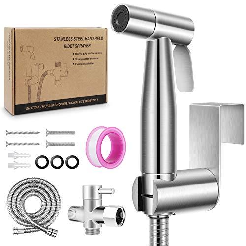Hand-Bidet-Sprayer für WC, Premium Edelstahl Badezimmer WC Sprayer Kit, Baby Tuch Windel Sprayer mit komplettem Zubehör, Wand oder WC montiert