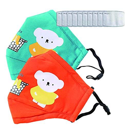 Cartoon bears cotton dustproof for children 10pcs Activated Carbon Filter Replaceable Filters Face Health Suitable For Children Kids (Light blue+orange)