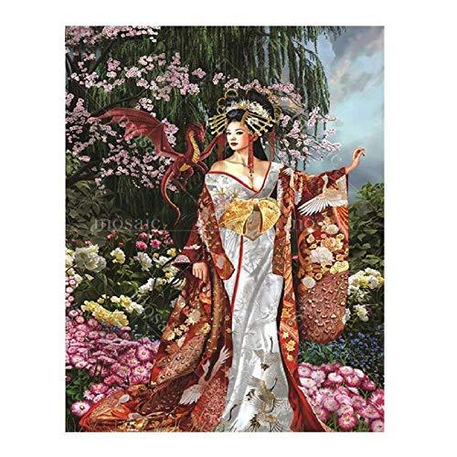 5D Diy Diamond Painting Full Round/Square Drill Japón Geisha Kimono Sakura Mujer Bordado Punto De Cruz Cuadros Decoración De Mosaico,Taladro Redondo,50X70cm