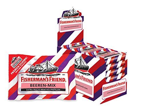 Exklusiv - Fisherman's Friend Beeren Mix| Karton mit 24 Beuteln | Wild-fruchtige Aromen verschiedener Beerensorten | Zuckerfrei für frischen Atem