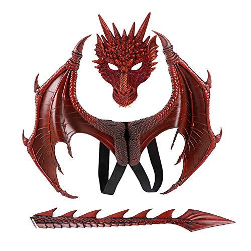 Jilijia Disfraz de Halloween 3D de Mardi Gras para nios, alas de dragn demonio para nios adultos con cola + mscara accesorio de decoracin para fiestas de disfraces