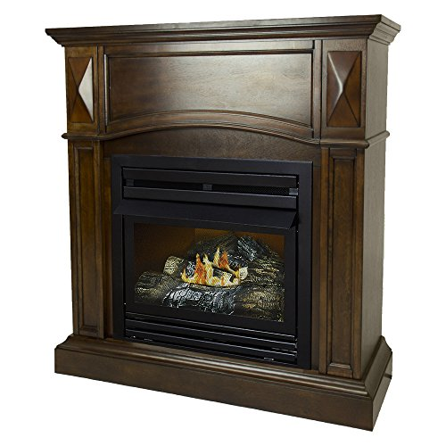 Pleasant Hearth 36 Compact Natural Gas Vent Free Fireplace System 20,000 BTU, Rich Cherry